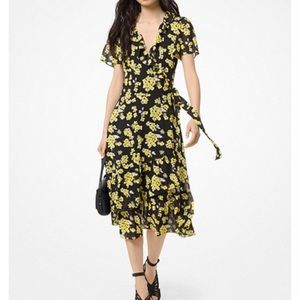 Michael Kors Floral Ruffled Wrap Dress